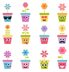 Flowers in pots with smiley faces vector