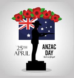 anzac day lest we forget poster soldier in podium vector image