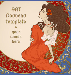 Art nouveau card with lady sitting on floral rich vector