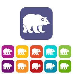 Bear icons set vector