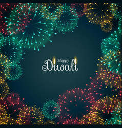 Beautiful fireworks background for diwali festival vector
