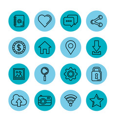 Blue icons set social media network application vector