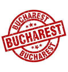 Bucharest red round grunge stamp vector