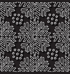 Christmas seamless pattern black and white vector
