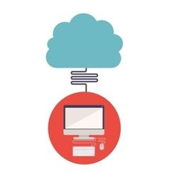Computer and cloud computing design vector
