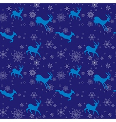 Dark blue seamless christmas pattern with goats vector