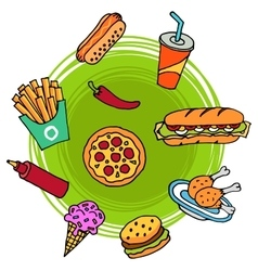 Fast Food Doodle vector image