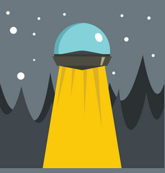 flat cartoon with ufo vector image vector image