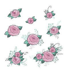 flowers roses set hand drawing monochrome vector image vector image