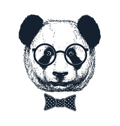 Hand drawn panda with sunglasses and bow tie vector