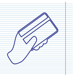 Hand holding a credit card navy line icon vector