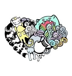 Happy cats in love doodle art vector