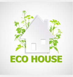 House and green plants vector