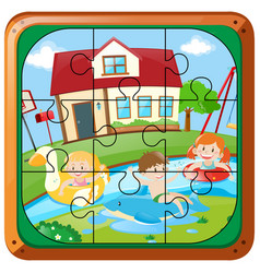 Jigsaw puzzle game with kids swimming at home vector