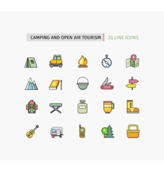 Line icons camping equipment open air tourism vector