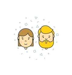 Man woman user icons vector