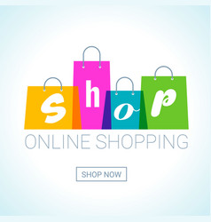 online shopping shopping bags logo internet shop vector image vector image