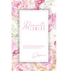 peony pink vertical frame vector image vector image