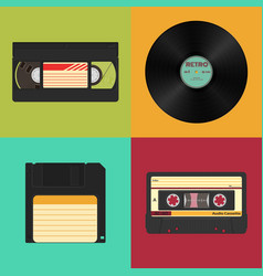 set of retro audio video and data storage on a vector image vector image