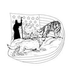 Sheepdog defend lamb from wolf drawing vector