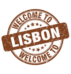 Welcome to lisbon brown round vintage stamp vector