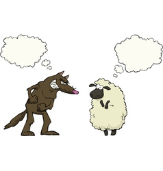 wolf vs sheep vector image vector image