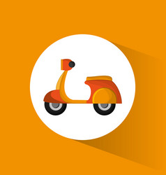 Yellow motorcycle delivery service transport vector