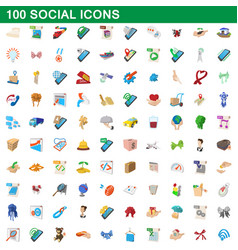100 social icons set cartoon style vector image