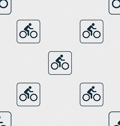 Cyclist sign Seamless pattern with geometric vector image