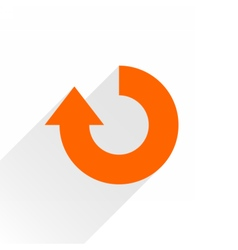 Flat orange arrow icon repeat sign on white vector