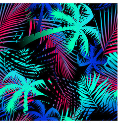 Tropical colored palm leaves seamless pattern vector image