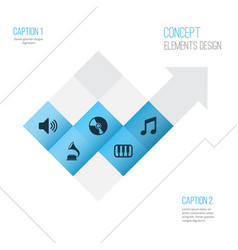 audio icons set collection of music cd octave vector image