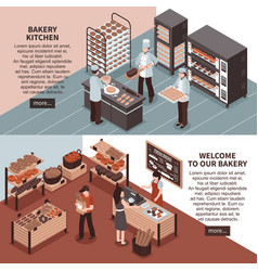 Bakery kitchen and bakery store isometric banners vector