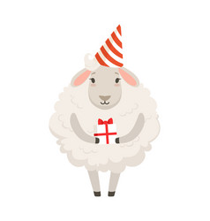 Cute white sheep character wearing party hat vector