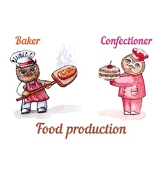 Owls baker and confectioner watercolor set vector