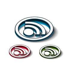 3d glossy rss icon vector