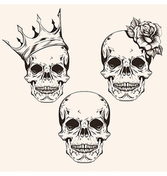 Hand drawn set sketch sculls tattoo design line vector
