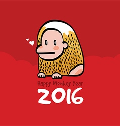 Happy monkey year 2016 card vector