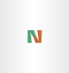 Letter n green brown logo icon logotype vector