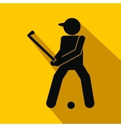 Golfer silhouette flat icon vector