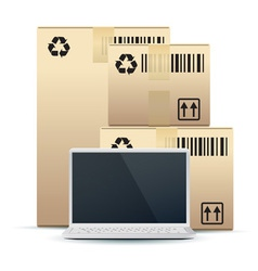 Laptop with cardboard boxes vector