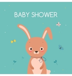 Baby shower card cute cartoon rabbit vector