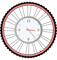 Clock on bike wheel isolated on white vector