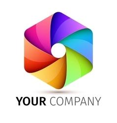 Abstract colorful camera shutter logo vector image vector image