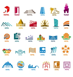 Biggest collection of logos buildings for leisure vector