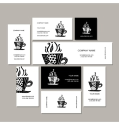 Business cards collection coffee cup design vector image