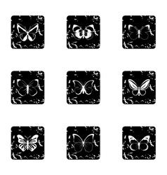 Butterfly icons set grunge style vector