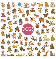 cartoon dog characters big set vector image vector image