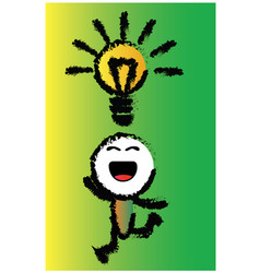 cartoon happy idea vector image vector image