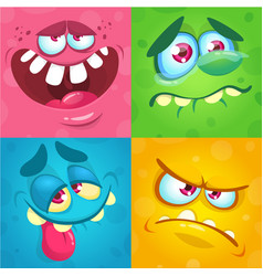 Cartoon monster faces set for halloween vector